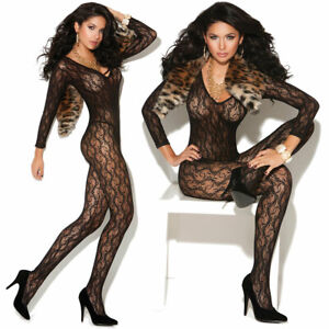 Long Sleeve Lace Bodystocking w/Open Crotch! One Size! Adult Woman Lingerie!