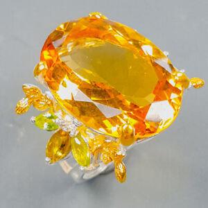 22x15 mm. IF gem Citrine Quartz Ring Silver 925 Sterling  Size 8 /R173358