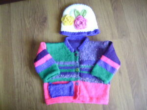 """New Hand Knitted Multi Colour Jacket and Matching Hat Set 20/22"""" chest"""