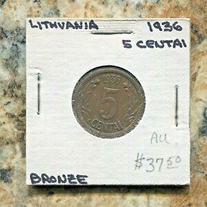 LITHUANIA - BEAUTIFUL HISTORICAL BRONZE 5 CENTAI, 1936, KM # 77