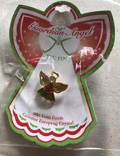 "Guardian Angel Tac Pin~18K Gold Finish~Red/Green~European Crystal~3/4""~New"