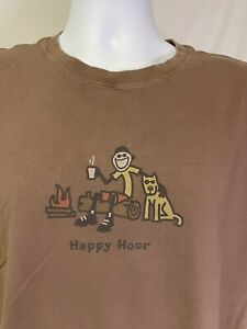 Life Is Good Brown Large L Short Sleeve Happy Hour Dog Camping Fire T-Shirt