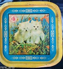 Vtg Advertising tin Sign from Bank of Baroda Serving tray Pictorial Cat C1950