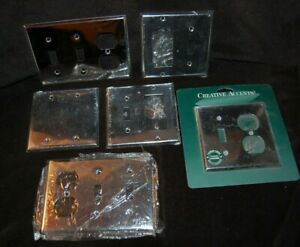 Set of 6  Vintage New Old Stock  Chrome Outlet Covers