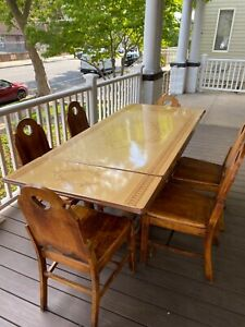 Vintage Metal Top Art Deco Kitchen Table with 6 Chairs
