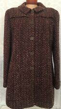 Chanel Coat Brown & Purple Speckled Tweed  Leather Buttons Size 46 02A