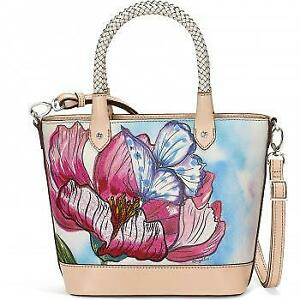 Brighton  Odette Embroidered Tote Enchanted Garden Butterfly Tote w/strap