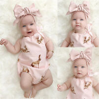 Toddler Baby Girls Clothes Bodysuit Romper Jumpsuit Playsuit Outfit Set Headband