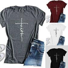 Summer Women Tops Cross Faith T Shirt Graphic T Shirt Christian Shirts Women Top