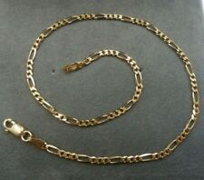 Figaro Link - Gift Boxed - Hallmarked 9ct Solid Gold Anklet 25cm long -