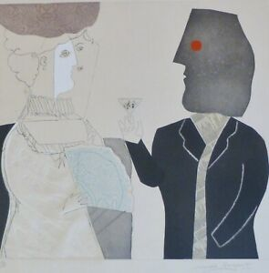 """MAX PAPART """" evening cocktail"""" HAND SIGNED Carborundum Etching French Artist"""