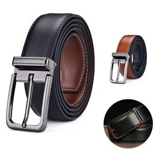 Men's Leather Belts Casual Pin Buckle Waist Waistband Strap Double-sided Use