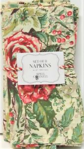 "Set / 8 April Cornell 16"" x 16"" Napkins Merry Antique Floral Holly & Berries"