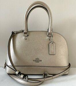 New Coach F29170 mini Sierra Satchel Metallic Leather handbag Platinum