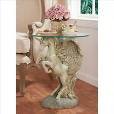 Majestic Unicorn Pegasus Fantasy Art 360 Sculpt Magic & Myth Decor Side Table