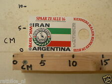 STICKER,DECAL WK ARGENTINA 1978 VOETBAL,SOCCER JH HENKES IRAN A