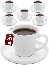 Espressotassen 6er Set Keramik Weiß Espresso Mokka Cups Tassen Untertassen 70ml
