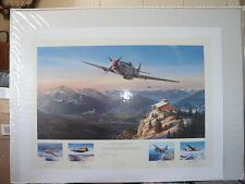 MUSTANGS OVER THE EAGLES NEST NICOLAS TRUDGIAN PRINT SIGNED BY 5 US WW2 PILOTS