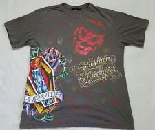 Christian Audigier Los Angeles Spell Out XL Multi Colored Printed Gray Shirt