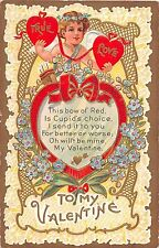 To My Valentine greetings child with hearts flowers antique postcard (Z4119)