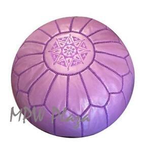 MPW Plaza Pouf, Purple, Moroccan Leather Ottoman (Stuffed)