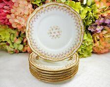 7 Haviland Limoges Porcelain Plates ~ Schleiger 349A ~ Roses ~ Double Gold