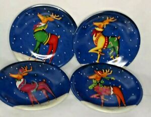 Christmas Dessert Pie Plates Reindeer by Certified International Blue Set of 4