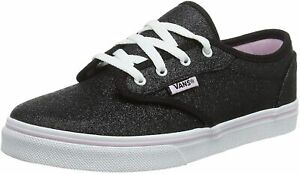 New Genuine Vans Girl's Black Lilac Glitter Atwood Low Missy Trainers UK 4 S7E3