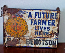 Vintage metal future farmer sign original painted double sides agriculture FFA