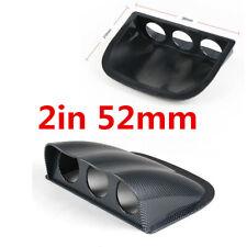 2in 52MM Car Carbon Fiber Look ABS Plastic 3 Hole Gauge Meter Mount Pod
