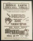 THE HERD PETER FRAMPTON MIDDLE EARTH TORQUAY UK 1968 Handbill Flyer RARE MINT