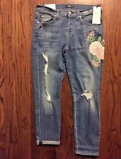 NEW 7 For All Man Kind Embroidered JOSEFINA Size 28 JEANS Made in USA