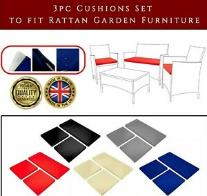 3pc Replacement  Cushions Set Rattan Garden Furniture Chairs Outdoor Patio Sofa