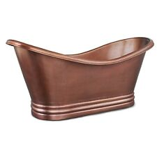 COPPER BATHTUB HAMMERED DOUBLE SLIPPER TUB IN ANTIQUE FINISH