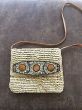 TOMMY BAHAMA CROSSBODY NATURAL  STRAW TOTE BAG REMOVABLE  STRAP