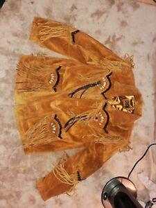 Mens Genuine Suede Jacket/coat Golden Brown MDK Cowboy Tassels