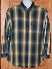 VINTAGE LEE JEANS SHADOW PLAID L STRIPED SHIRT OUTDOORS FLANNEL LIKE
