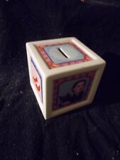 """Wizard of Oz Piggy Bank Dorothy & Toto Ruby Slippers 3 1/2"""" Square Great Cond."""