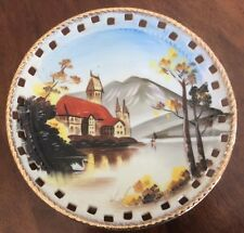 "Vintage Norleans Reticulated Hand Painted Porcelain Plate - Village homes 8"" G9"