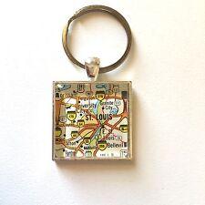 GRANITE CITY ST. LOUIS MISSOURI USA Map Key Ring Keychain Silver vntg ATLAS