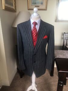 Lanvin Paris Classique Wool Italian Grey Pin Striped Jacket 42R Mint Condition
