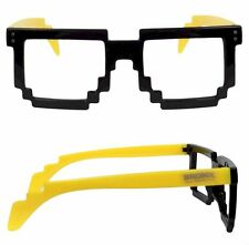 Montatura Occhiali Stile 8 BIT 80s PIXEL NERO e aste color GIALLO UNISEX VINTAGE