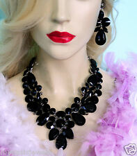 Black Drag Queen V-Shape Rhinestone Crystal Choker Necklace Earring Pageant