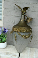 Antique French lantern chandelier brass metal crystal glass shade cut eagle rare