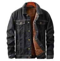 Men's Denim Jacket  Winter Plus Thick Warm Cotton Blend Casual Coat  New