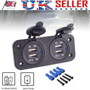 12V Double USB Socket Dual Charger Camper Van Motorhome Caravan Charging Port WT