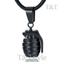 High Polished T&T Black Stainless Steel Grenade Pendant Necklace (NP180D)