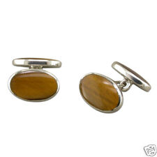 SOLID SILVER CUFFLINKS WITH TIGERS EYE. FULLY HALLMARKED