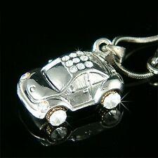 VOLKSWAGEN Classic CAR w Swarovski Crystal ~3D VW Beetle~ Charm Pendant Necklace
