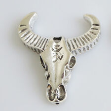2pcs Antique Silver Large Skull Cow/Bull Ox Head Charms Jewelry Pendant 54x47mm